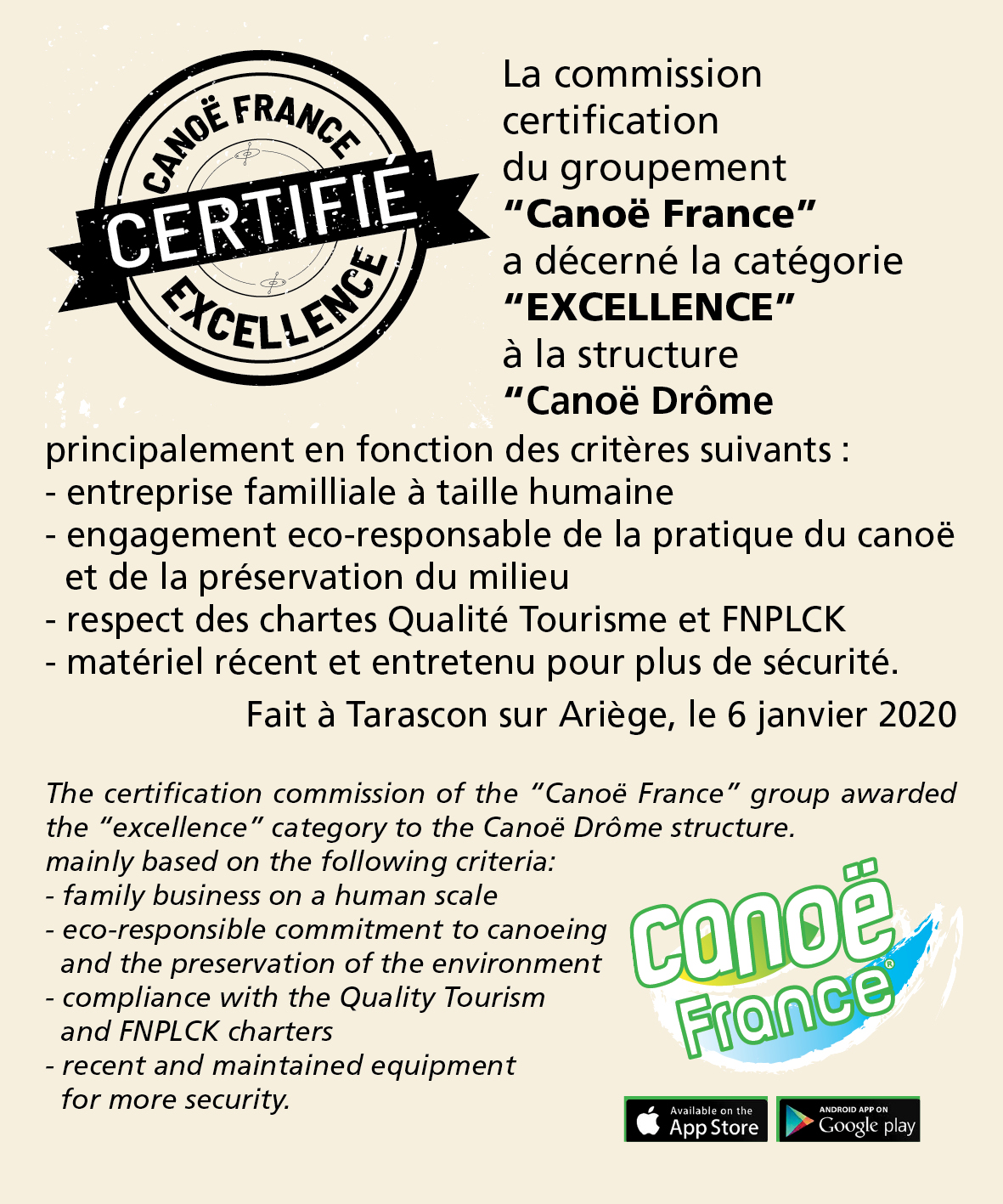 certificat excellence canoe france